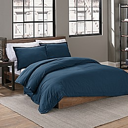 Garment Washed Solid Duvet Cover Set