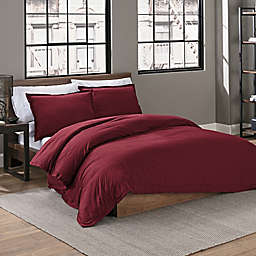 Garment Washed Solid 2-Piece Twin/Twin XL Duvet Cover Set in Maroon