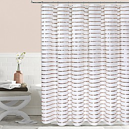 Colordrift Sequin Stripe Shower Curtain in Gold