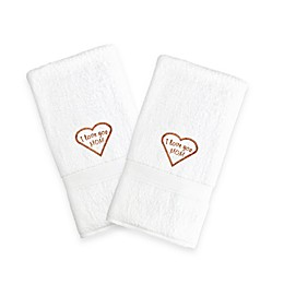 "Linum Home Textiles Mothers Day ""I Love You Mom"" Hand Towels (Set of 2)"