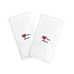 "Linum Home Textiles Mothers Day ""I Love You Mom"" Hand Towels in White (Set of 2)"