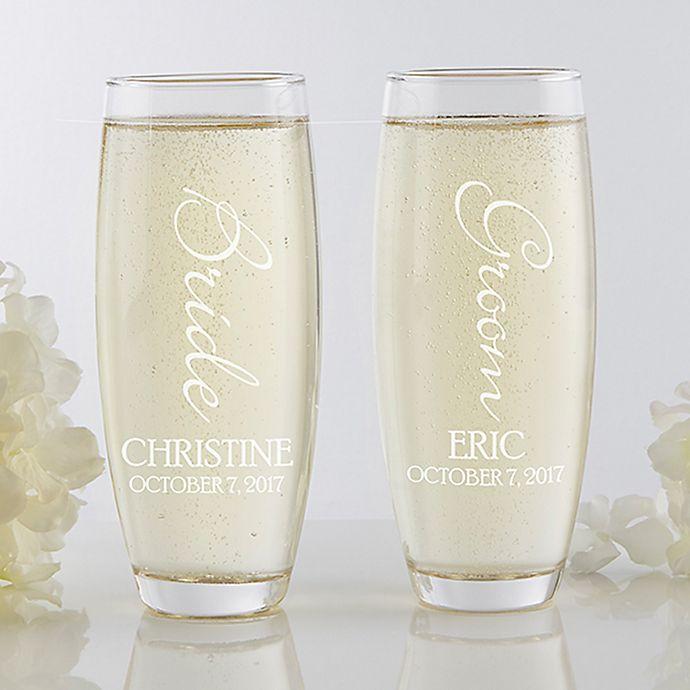 Alternate image 1 for Bridal Couple Stemless Champagne Flute Set