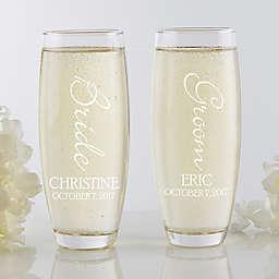 Bridal Couple Stemless Champagne Flute Set