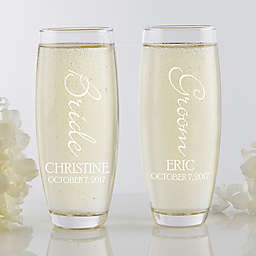 Bridal Couple Stemless Champagne Flute Set