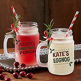 Eat, Drink & Be Merry Frosted Mason Jar