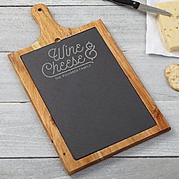 Wine and Cheese Slate and Wood Paddle Board