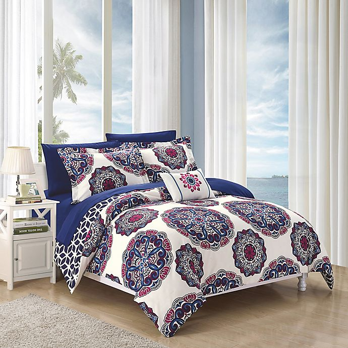 Alternate image 1 for Chic Home Barella 8-Piece Reversible King Comforter Set in Navy