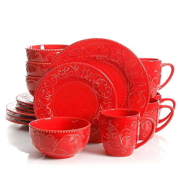Alternate image 1 for Laurie Gates Cassis 16-Piece Dinnerware Set in Red