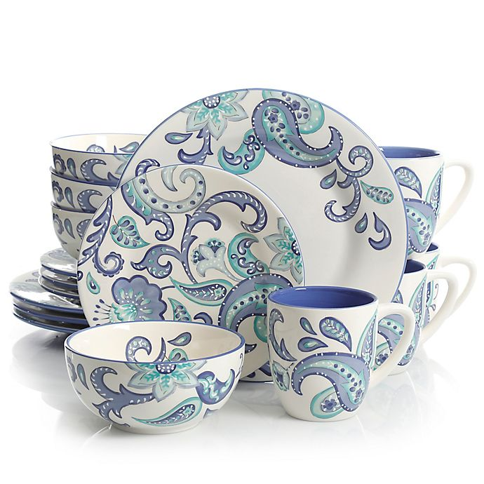 Alternate image 1 for Laurie Gates Roxanna 16-Piece Dinnerware Set in White/Blue