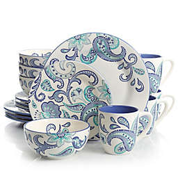Laurie Gates Roxanna 16-Piece Dinnerware Set in White/Blue