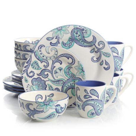 Laurie Gates Roxanna 16 Piece Dinnerware Set In White Blue