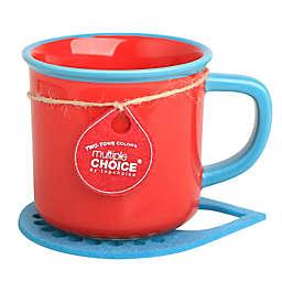 Multiple Choice® Two-Tone Stonenamel Mug and Coaster Set in Red/Sea