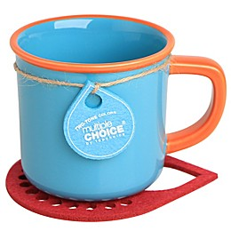 Multiple Choice® Two-Tone Stonenamel Mug and Coaster Set in Blue/Salmon