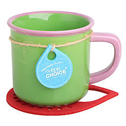 Multiple Choice® Two-Tone Stonenamel Mug and Coaster Set in Green/Pink