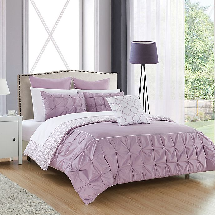 Alternate image 1 for Chic Home Keppel 10-Piece Reversible King Comforter Set in Lavender