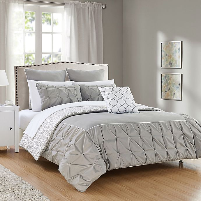 Alternate image 1 for Chic Home Keppel 10-Piece Reversible King Comforter Set in Grey