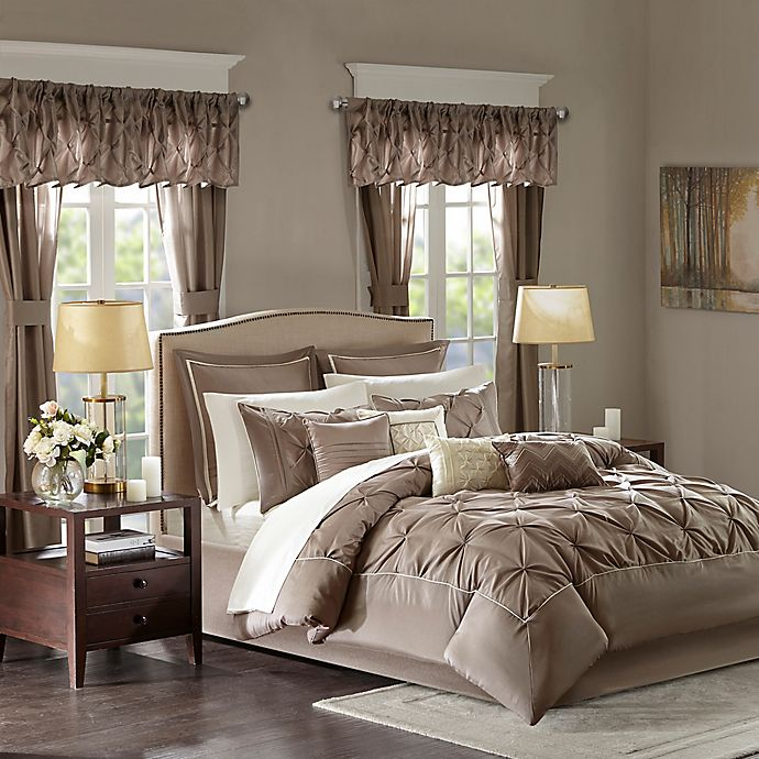 Alternate image 1 for Madison Park Essentials Joella 24-Piece Queen Comforter Set in Mushroom