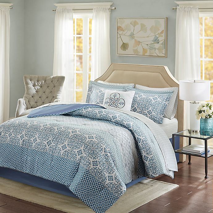 Alternate image 1 for Madison Park Essentials Sybil 9-Piece Full Comforter Set in Blue