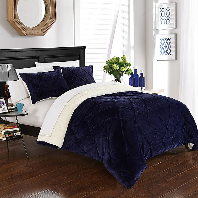 Alternate image 1 for Chic Home Aurelia 3-Piece King Comforter Set in Navy