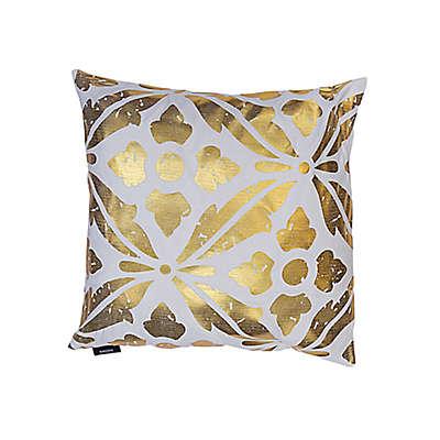 Kensie Vendela Square Throw Pillow in White/Gold (Set of 2)