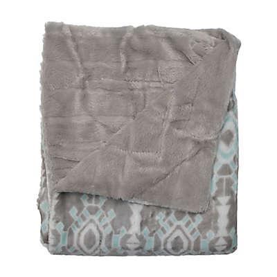 Kensie Bexley Reversible Throw Blanket in Grey/Aqua
