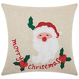 Mina Victory Holiday Merry Christmas Santa Square Throw Pillow in Natural
