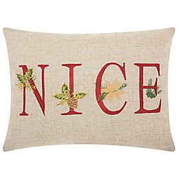 Mina Victory Nice Embroidered  Oblong Throw Pillow in Natural