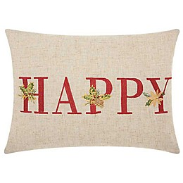 """Mina Victory """"Happy"""" Embroidered  Oblong Throw Pillow in Natural"""