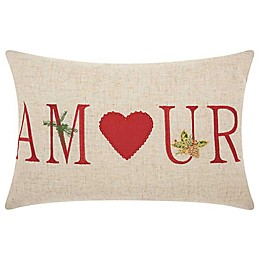 Mina Victory Holiday Amour Oblong Throw Pillow in Natural