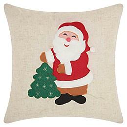 Mina Victory Happy Santa  Square Throw Pillow in Natural