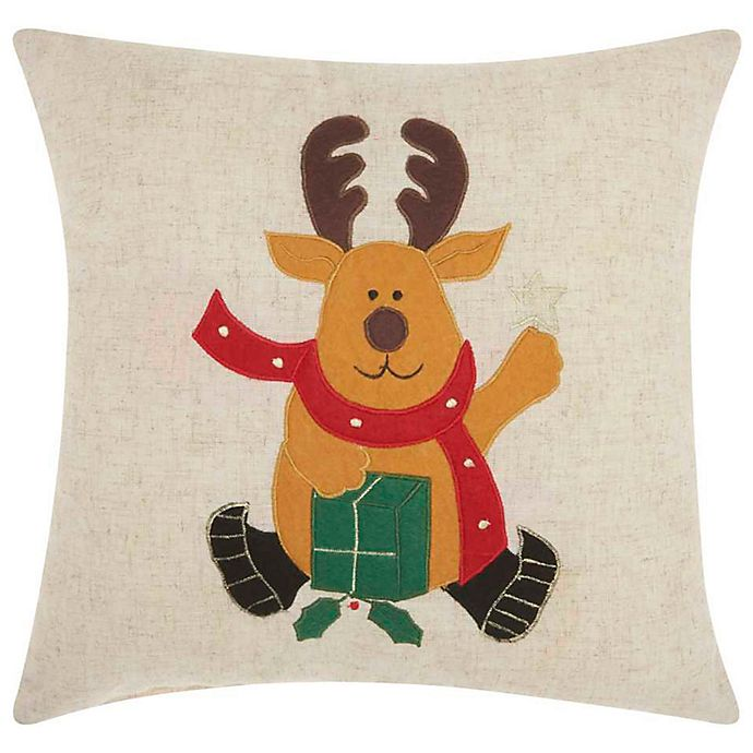 Alternate image 1 for Mina Victory Holiday Waving Deer Square Throw Pillow in Natural