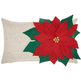 Mina Victory Holiday Oversized Poinsettia Oblong Throw Pillow in Natural