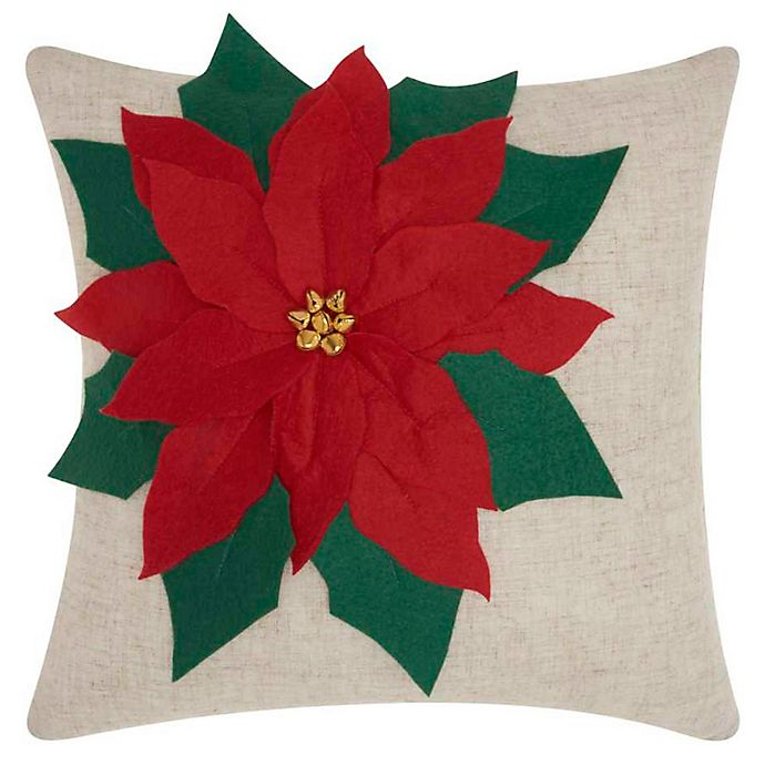 Alternate image 1 for Mina Victory Holiday Oversized Poinsettia Square Throw Pillow in Natural
