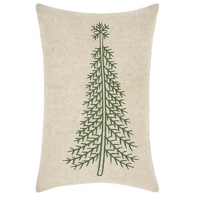 Skinny Christmas Tree.Mina Victory Holiday Skinny Christmas Tree Oblong Throw Pillow In Linen