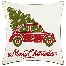 Mina Victory Vintage Christmas Car 18-Inch x 18-Inch Throw Pillow