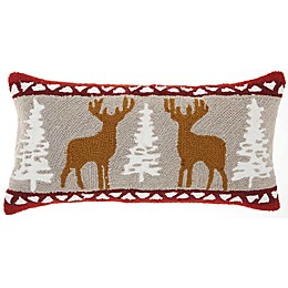 Mina Victory Reindeer Oblong Throw Pillow in Natural/ Red