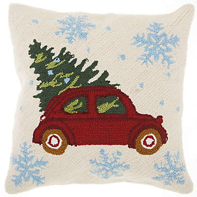 Mina Victory Holiday Snowflake Vintage Car Square Throw Pillow in Red/Natural