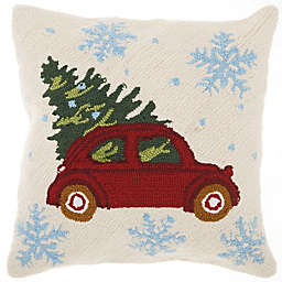 Mina Victory Holiday Snowflake Vintage Car Square Throw Pillow In Red Natural