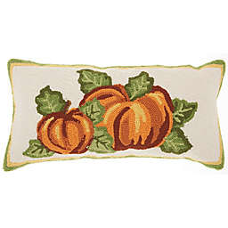 Mina Victory Holiday Harvest Pumpkin Square Throw Pillow in Red/Natural