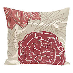 E by Design Flowers and Fronds Floral Print Square Throw Pillow in Brick