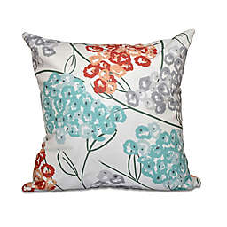 E by Design Hydrangeas Floral Print Square Throw Pillow in Coral