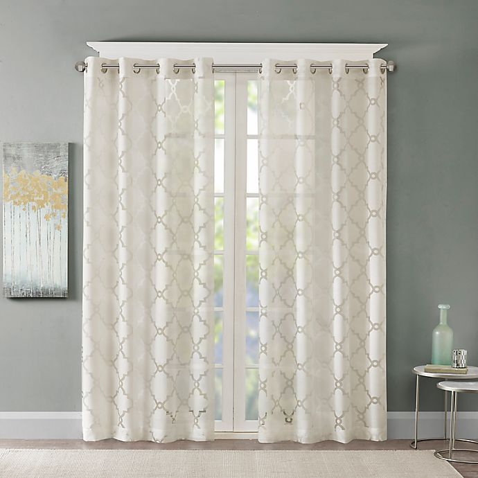 Alternate image 1 for Madison Park Eden Fretwork Burnout Sheer 84-Inch Grommet Top Window Curtain Panel in Ivory