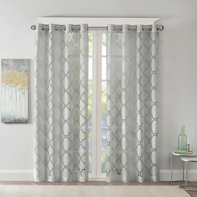 Alternate image 1 for Madison Park Eden Fretwork Burnout Sheer 63-Inch Grommet Top Window Curtain Panel in Grey