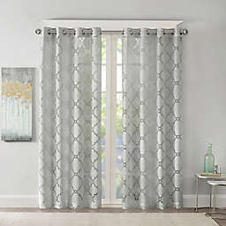 Madison Park Eden Fretwork Burnout Sheer Grommet Top Window Curtain Panel