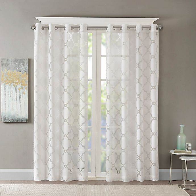 Alternate image 1 for Madison Park Eden Fretwork Burnout Sheer 63-Inch Grommet Top Window Curtain Panel in White