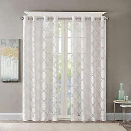 Madison Park Eden Fretwork Burnout Sheer Grommet Top Window Curtain Panel