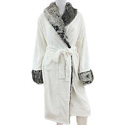 Faux Fur Trimmed Plush Robe