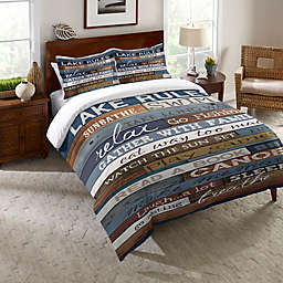 Laural Home® Lake Rules Queen Duvet Cover in Blue/Brown