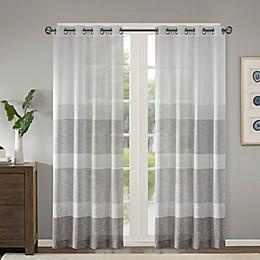Madison Park Hayden Striped Sheer Grommet Top Window Curtain Panel