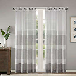 Madison Park Hayden Striped Sheer Grommet Top Window Curtain Panel